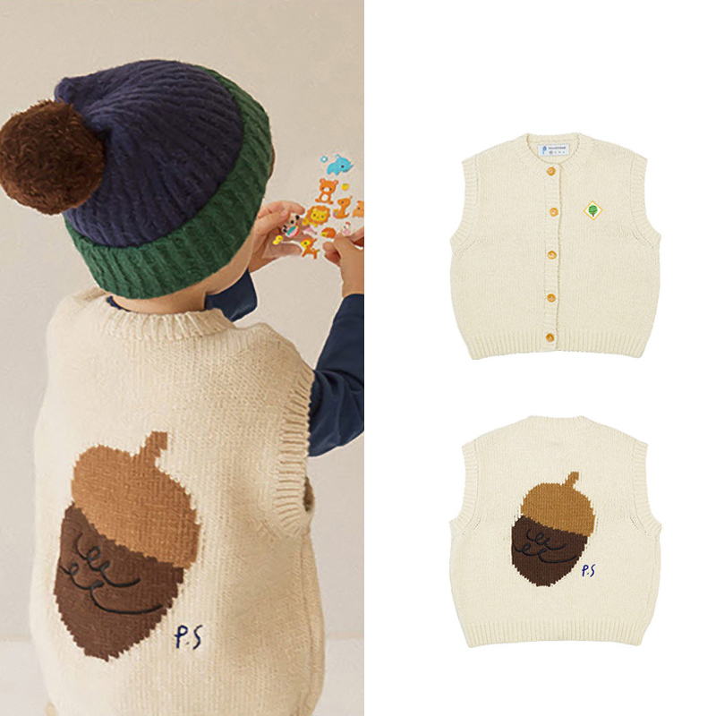2020 New Autumn Winter Korea Brand Ps Kids Sweaters for Boys Girls Fashion Print Cute Knit Vest Baby Child Cotton Outwear Clothe