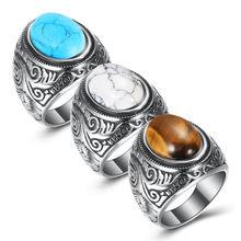 Letepi-Anillo de ópalo con incrustaciones de acero y titanio para hombre, joyería Vintage Punk, anillo de ópalo con piedras, en tres colores