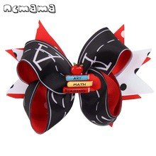 5 Layered Hair Bows for Girls Back To School Clips Cute Letter Black/Red Ribbons Bowknot Hairgrips Kids Accessories