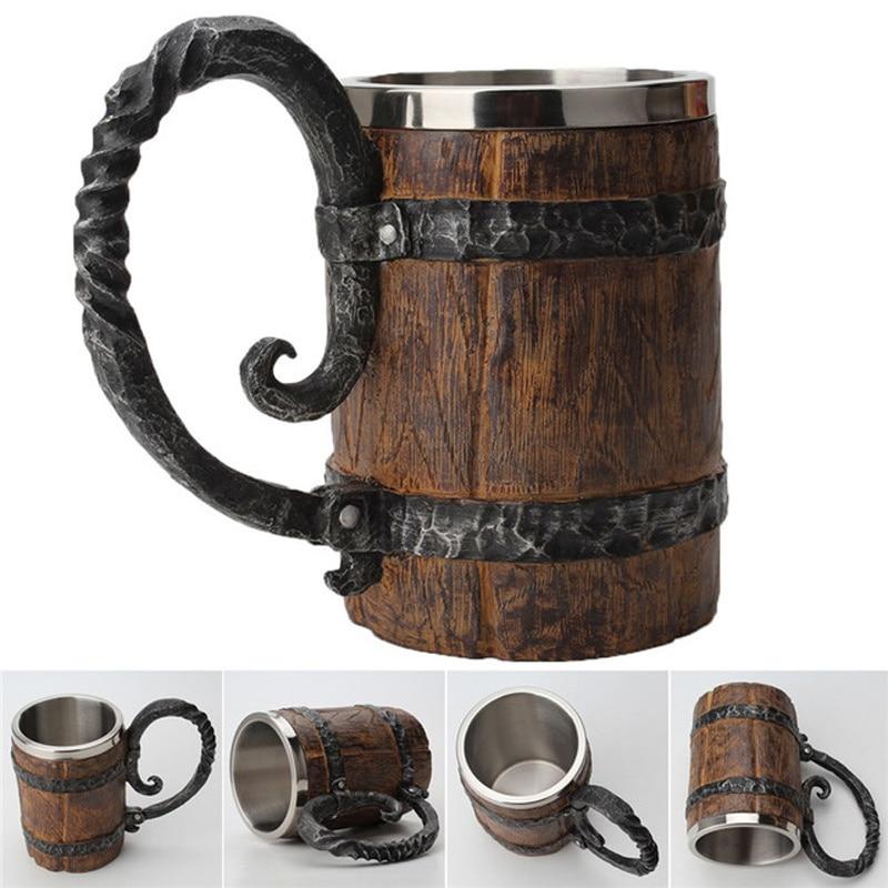 Game Of Thrones Beer Mug Viking Mug Skull Mug Wooden Barrel Retro Mug Stainless Steel Resin Cups Coffee Mug Drinkware Tankard(China)