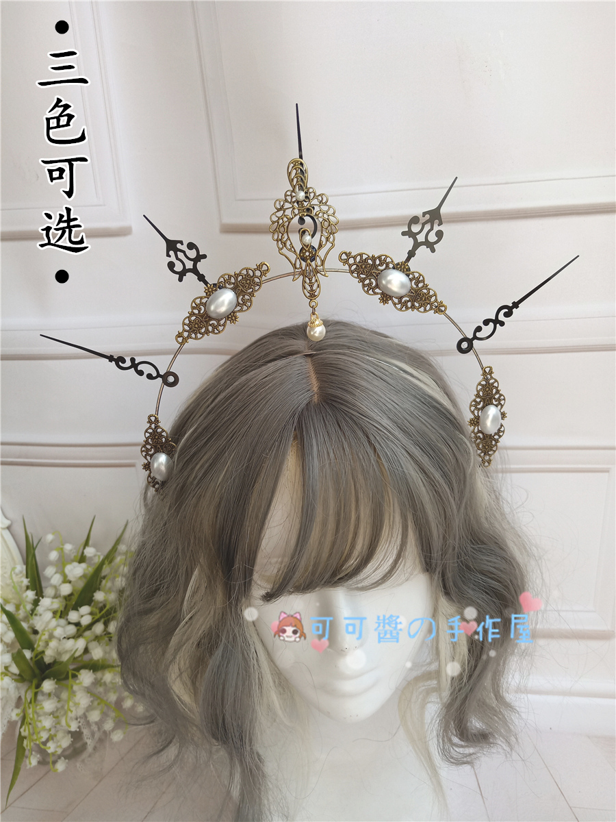 Lolita Notre Dame's Halo KC Crown Of Sinking Sun Godmother's Crown Star Moon Floating Light Gothic Cosplay Tea Party Headband
