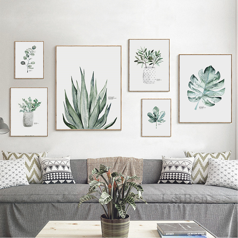 Watercolour Plants Leaf Poster Canvas Painting Nordic Style Print