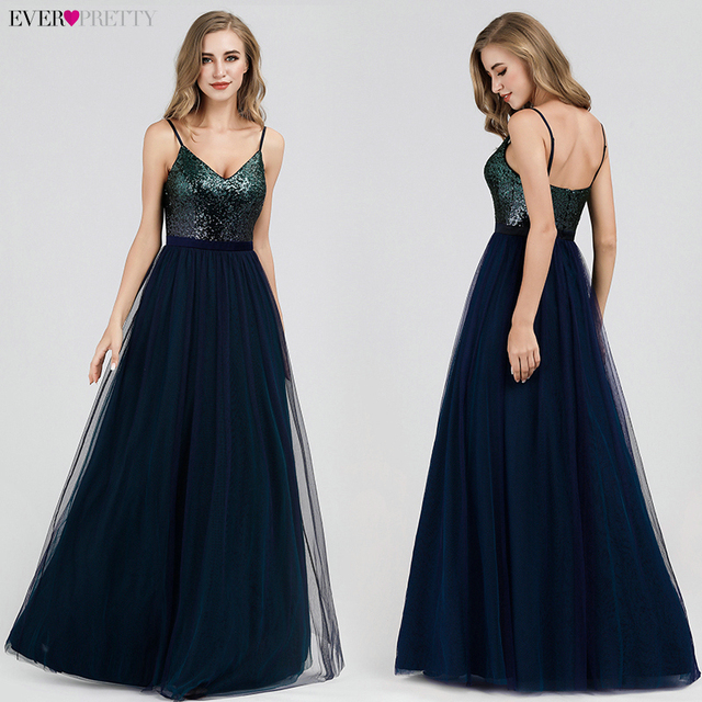 Ever Pretty Prom Dresses 2019 Elegant Navy Blue A Line O Neck Appliques Lace Formal Party Gowns Sexy Robe De Bal Gala Jurken 3