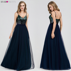 Image 3 - Ever Pretty Prom Dresses 2020 Elegant Navy Blue A Line O Neck Appliques Lace Formal Party Gowns Sexy Robe De Bal Gala Jurken