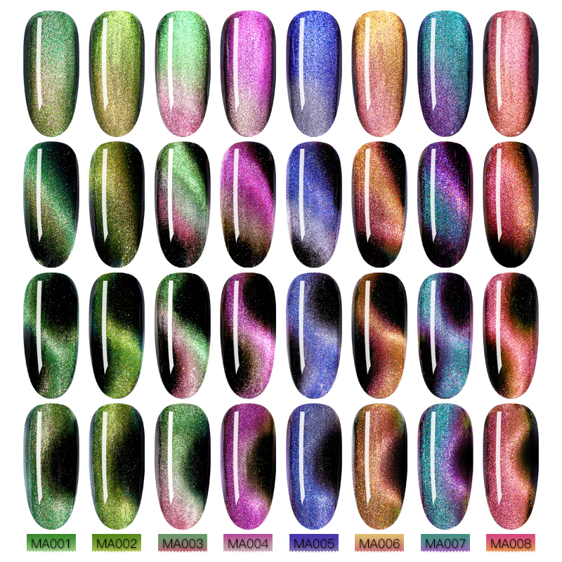 MEET ACROSS 7ml Chameleon Magnetic Gel Nail Polish Set with Magnetic Stick UV Gel Varnish Soak Off LED Nail Art Gel Lacquer in Nail Gel from Beauty Health