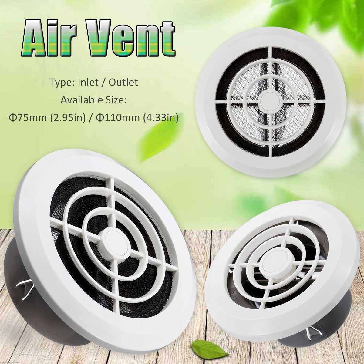 75/110mm Adjustable Ventilation Grille Grid Air Vent Round Louver Grille Cover Grate Ventilator For Bathroom Kitchen Ventilation