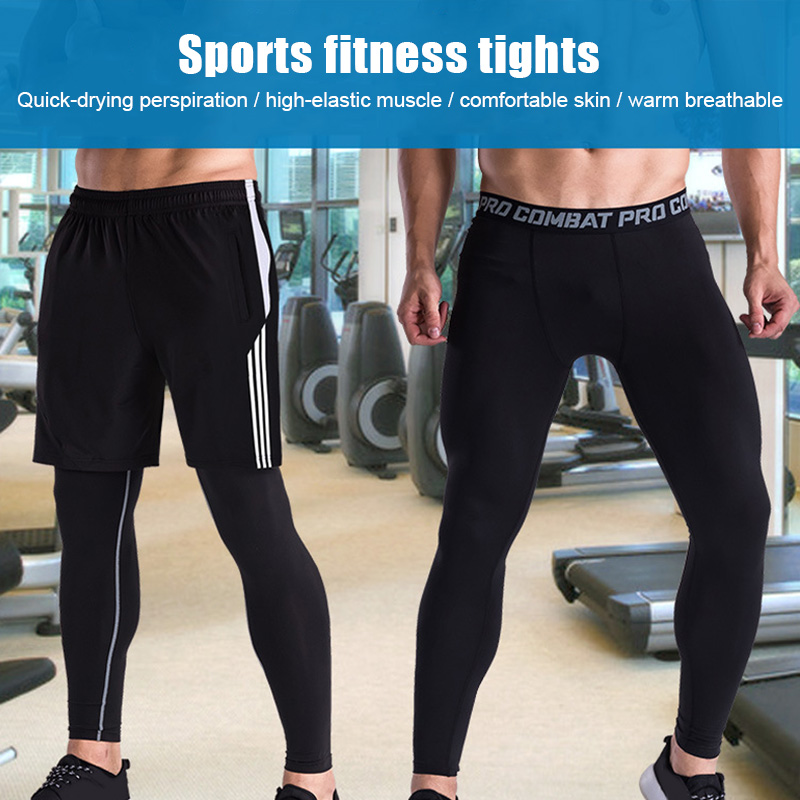 Mens Fitness Pants Tight Quick Dry Sports Running Workout Leggings YA88
