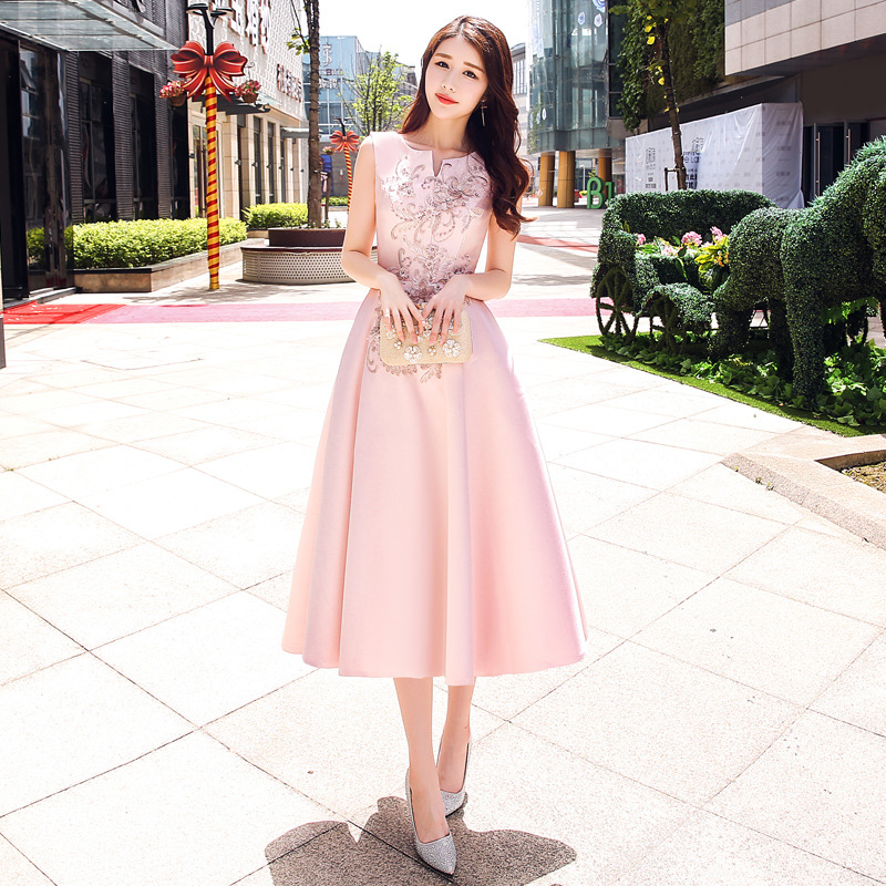 It's Yiiya Evening Dress For Girls Pink Sleeveless Formal Party Gowns Elegant Appliques Embroidery Prom Gowns Plus Size K168