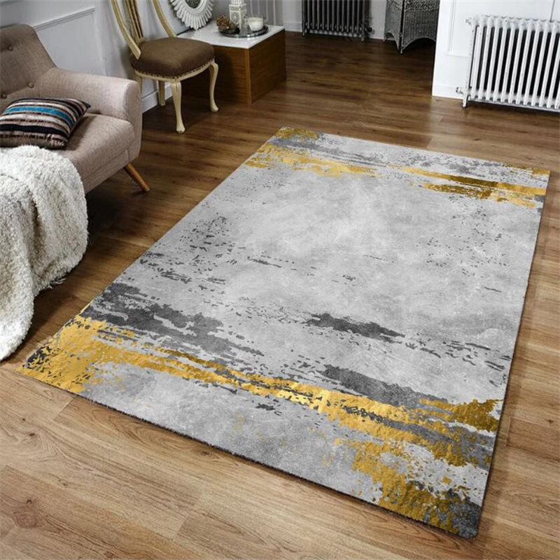 Details About Geometric Rug Yellow Grey Mustard Carpet Modern Small Large Living Room Area Mat