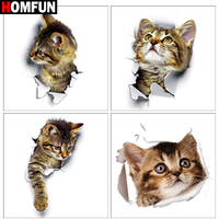 "HOMFUN Diamond painting ""Cat breaking wall"" Full Square/Round Drill Wall Decor Inlaid Resin Embroidery Craft Cross stitch"