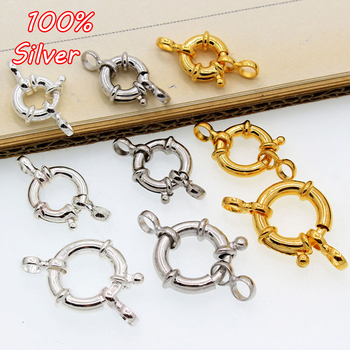 925 Sterling Silver Gold Color Buckle 10mm 12mm 15mm Lobster Clasps With Hoop DIY Jewelry Making Findings Connector Components