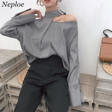 Neploe Women Plaid Shirts 2020 Korean Vintage Fashion Halter Patchwork Blouse Long Sleeve Casual Loose Female Blusas 67001blusas fashionblouse longwomen plaid shirt