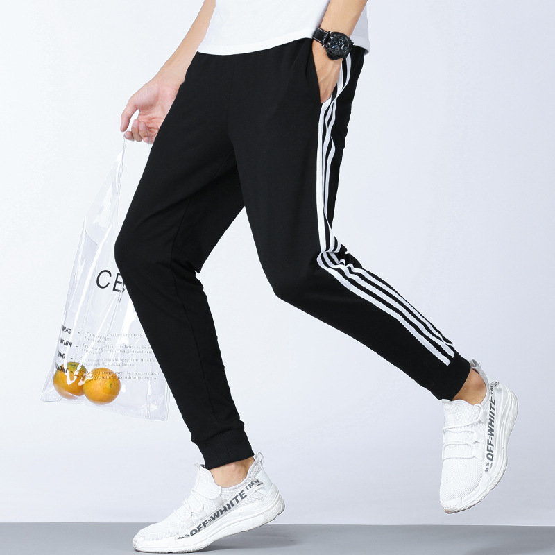 Autumn Three Bars Pure Cotton Sports Pants Men's 2019 New Style Casual Pants Students Stripes Beam Leg Sweatpants