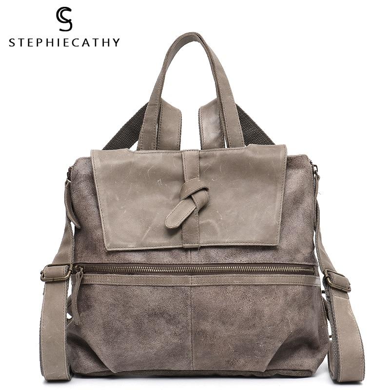 SC Female Oil Wax Leather Backpack Vintage Genuine Leather Canvas Patchwork Women Shoulder Bag Flap Cover Zip Large Capacity Bag