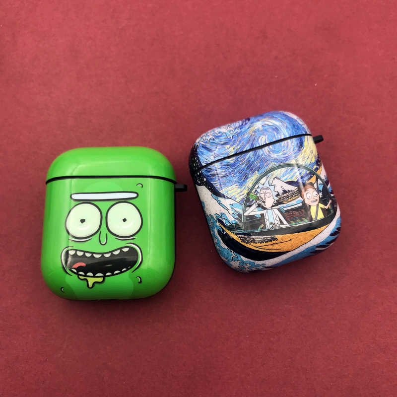 3D マッド科学者リックと Morty ヘッドホン Apple の Airpods 1/2 漫画ヘッドホン保護カバーアクセサリーホット