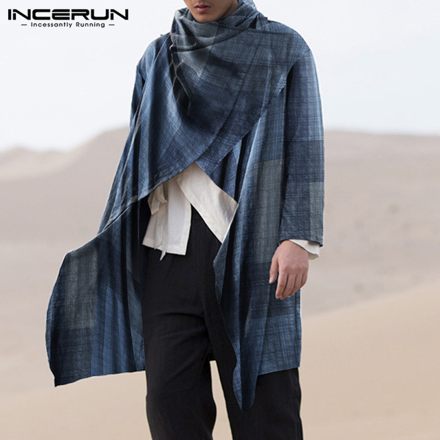 INCERUN Men Coats Turtleneck Plaid Cotton Long Sleeve Trench Ponchos Vintage Streetwear 2021 Casual Irregular Outerwear Cloak 3