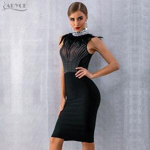Image 5 - Adyce 2020 새로운 여성 Bodycon 붕대 드레스 민소매 검은 깃털 구슬 럭셔리 다이아몬드 연예인 이브닝 파티 클럽 드레스