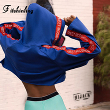 Fitshinling Athleisure Casual Cropped Hoodie Letter Blue Autumn Winter Womens Hoodies Fashion Slim Sexy Poleron Mujer 2019 New