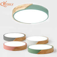 LED Ceiling Lights Ultra Thin Modern Ceiling Lamp Nordic Dimmable Wood Livingroom Bedroom Round Light Fixture Surface Mounted