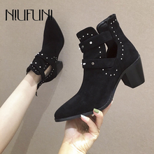 Sexy Pointed Toe Rivet Black Belt Buckle Women's Ankle Boots Fashion Zipper High Heels Martin Boots Plus Size 35-41 Women Shoes prova perfetto punk black leather ankle boots woman round toe rivet belt buckle square med heel shoes women fashion martin boots