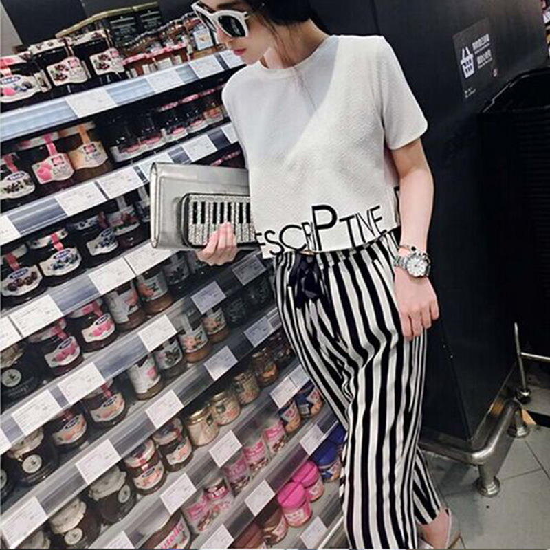 2019 Summer New Style Short Sleeve T-shirt Women's + Casual Pants Women's Two-Piece Set Sports Set WOMEN'S Dress Summer