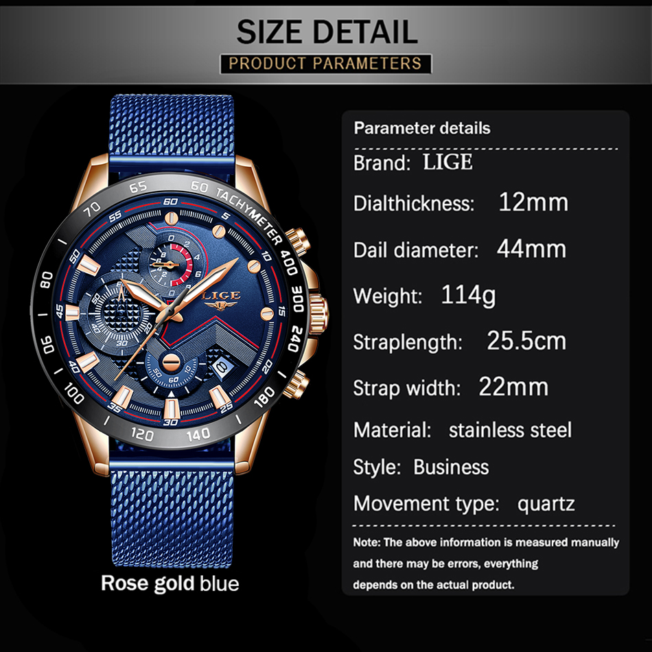 size details smart watches for men