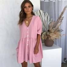 Shrort manga feminina mini vestido com decote em v vestido sólido primavera verão praia boêmio boho vestido bolso botão vestido de praia 2021
