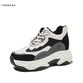 2020 New Platform Shoes  Flock New High Heel Lady Casual Women Sneakers Leisure Breathable Height Increasing Lady Sports Shoes