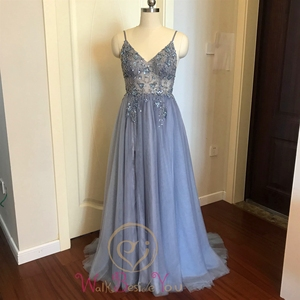 Image 4 - Pink Formal Party A Line Split Prom Dresses 2020 Blue Beaded Crystal Sleeveless Spaghetti Straps vestidos de gala Evening Gowns