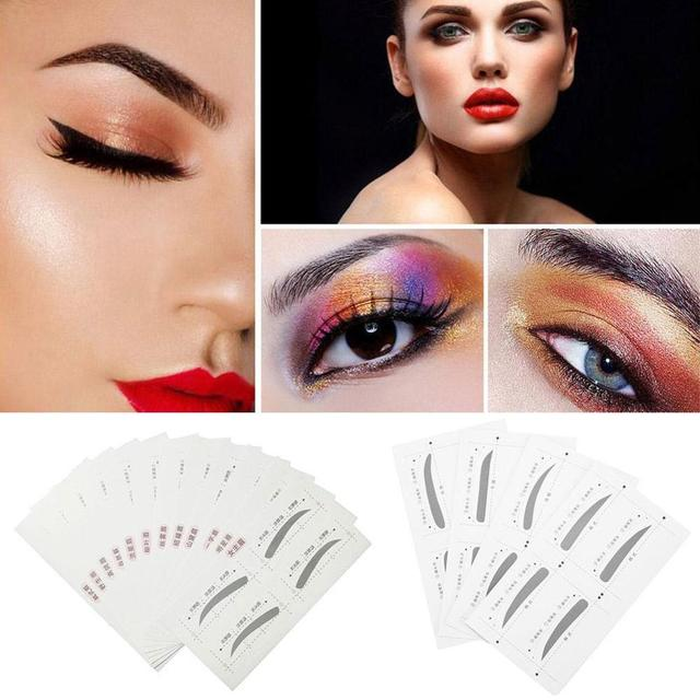 4/12Pcs/set Thrush Card Threading Word Eyebrow Makeup Tools Threading Artifact Thrush Aid Card Eyebrows Mold 1