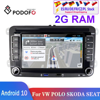 Podofo 2din Android Car Radio 2din Car Multimedia Player 2din car autoradio For VW/Volkswagen/Passat/SEAT/Skoda/Polo car stereo image