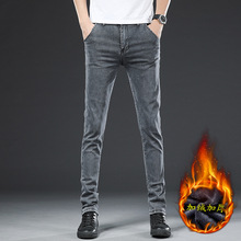 2020 New Winter Plus Velvet Thick Men's Jeans Casual All-match Jeans High Quality