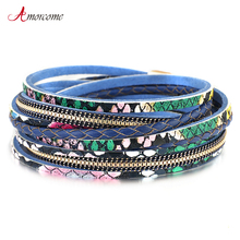 Amorcome Genuine Leather Bracelets for Women Fashion 2020 Bohemian Snake skin Pattern Charm Bracelets amp Bangles Female Jewelry cheap Zinc Alloy TRENDY Rope Chain All Compatible Animal Mood Tracker E540244P Glue MAGNET Women Charm Bracelet Genuine Leather Bracelet Female