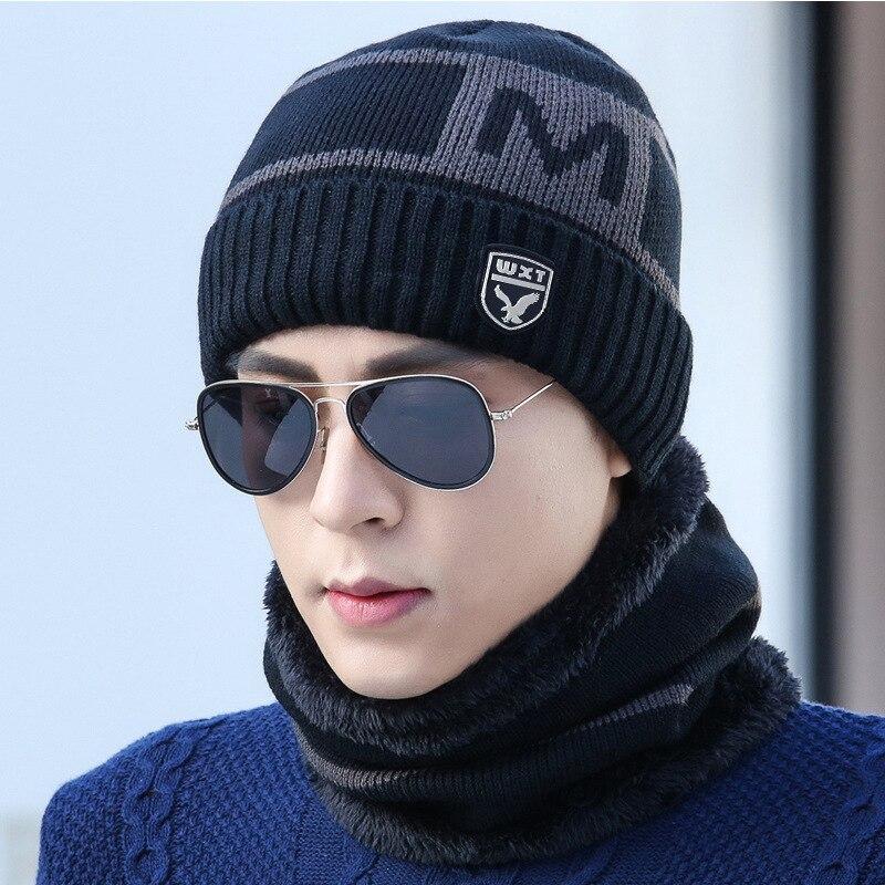New Winter Knitted Hats Scarf Set Winter Cap Beanie Thick Neck Warm Wool Bonnet Skullies Beanies For Men Women Knitted Hat