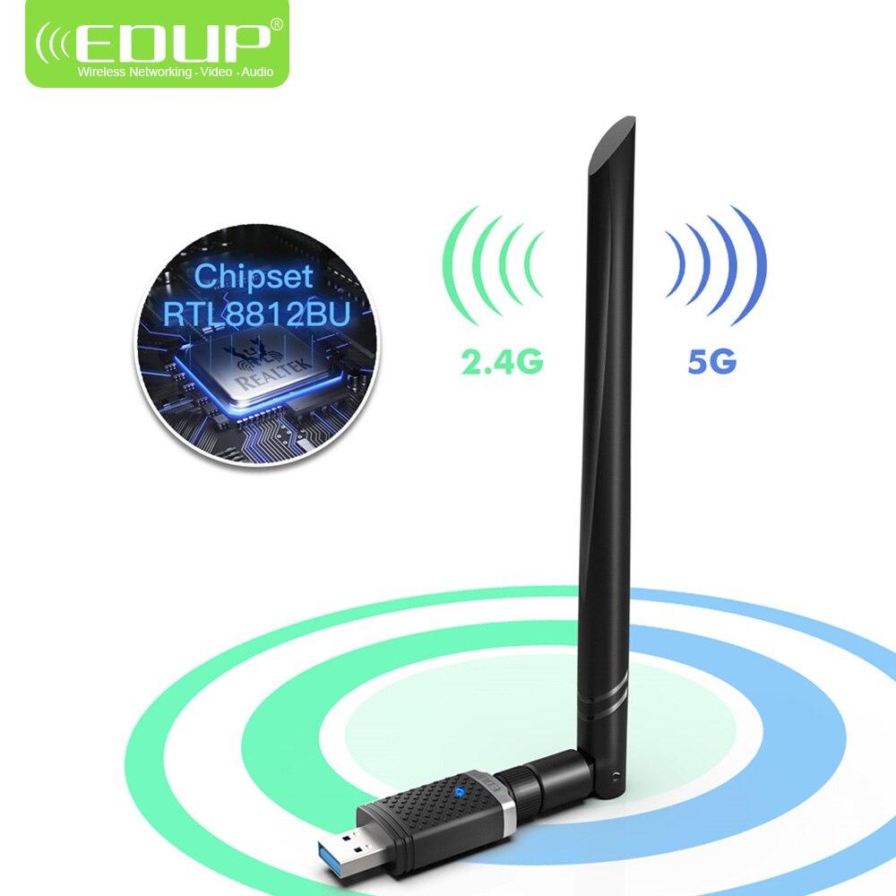 EDUP 1300Mbps RTL8812BU 2.4GHz/5GHz Band Wirelss USB WiFi Adapter 5dBi Strong Antenna USB WiFi Dongle(China)