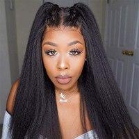 Italian Yaki Silk Top Full Lace Wigs Pre Plucked Hairline Brazilian Virgin Human Hair 4x4 inches Silk Base Yaki Wigs