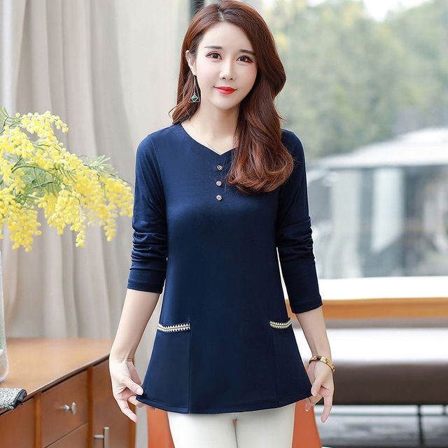 New Women's Spring Autumn Style Blouse Shirts Women's O-Neck Loose Button Embroidery Long Sleeve Temperament Casual Tops DD8332 5