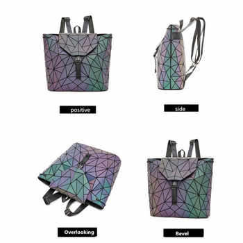 Women Backpack Holographic Luminous Backpacks Girl School Bag For Student Backpack Geometric foldable Shoulder Bags and purse