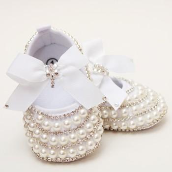 QYFLYXUE perła wykonana ręcznie diamentowa noworodka księżniczka buty obuwie na co dzień ręcznie wywiercona miękka podeszwa tanie i dobre opinie CN (pochodzenie) Na płótnie String bead Wszystkie pory roku Gumką baby Baby girl Pierwsze spacerowiczów COTTON Pasuje prawda na wymiar weź swój normalny rozmiar
