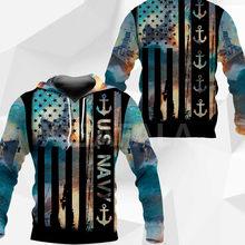 U.S. Navy Flag Ship 3D All Print Plus Hoodie Man Women Harajuku Outwear Zipper Pullover Sweatshirt Casual Unisex Jacket
