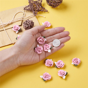 Image 4 - 40pcs Handmade Porcelain Cabochons Pink Flower Clay Beads for Jewelry Making DIY Bracelet Necklace 23~25x20.5~21x10~11mm