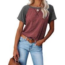 Woman t-shirts new summer 2021 Europe ladies backing color matching short sleeves T-shirt unlined harajuku Stitching T- shirt