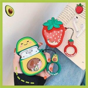 Image 5 - Quicksand Glitter Cute Fruit Avocado fragola pino apple cuffie per Apple Airpods 1/2 custodia protettiva in Silicone per auricolari