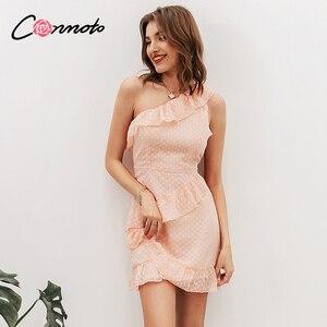 Image 4 - Conmoto Vestido corto informal de lunares, vestido de gasa con volantes y un solo hombro sin mangas para mujer para fiesta de verano 2019