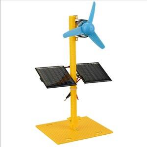 Double Solar Fan Kids Technology DIY Creative Science Experiment Construction Solar Powered Toys Windmill Technology Gadgets
