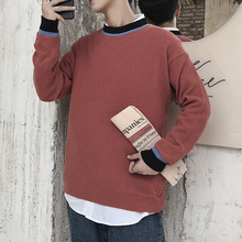 Winter Sweater Men Warm Fashion Contrast Casual O-Neck Knit Pullover Men Wild Loose Long Sleeve Sweter Male Clothes M-3XL