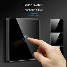 Depoguye 1Gang1Way touch light switch socket panel, household wall touch toughened glass switch, 86mm*86mm AC110-250V