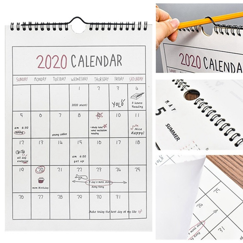 1PC Agenda 2019 2020 365days Paper Wall Calendar Daily Planner Notes TO DO LIST Kawaii School Office Supplies
