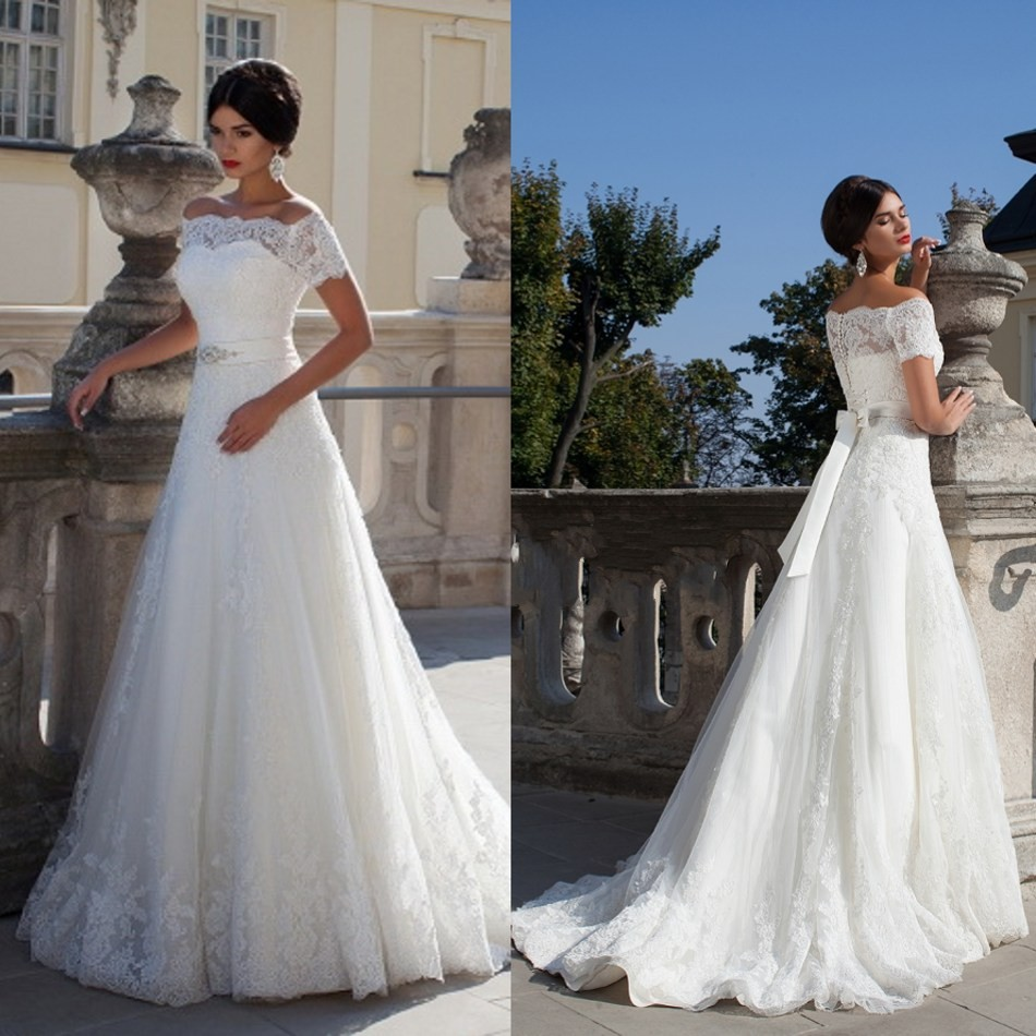 Elegant Off The Sleeve Wedding Dresses With Crystal A-Line Sheer Neck Lace Bridal Gowns For Sale Vestido De Casamento 2015 WB013