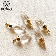 FUWO 彫刻クリスタルクォーツポイントペンダント 24 24k ゴールド電着ナチュラル半貴石ジュエリーアクセサリー卸売 PD136